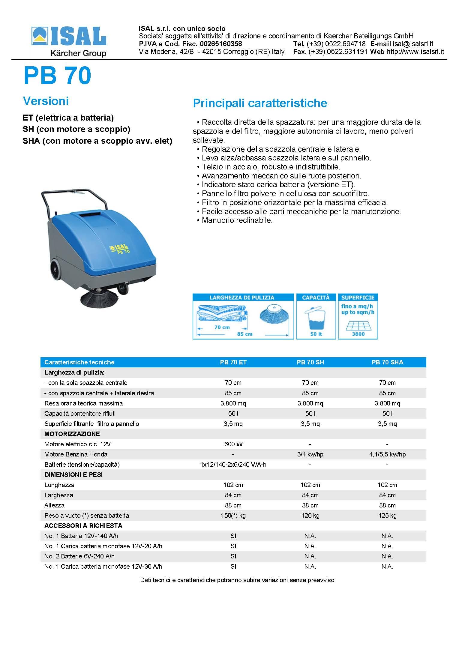 Características técnicas Isal PB70