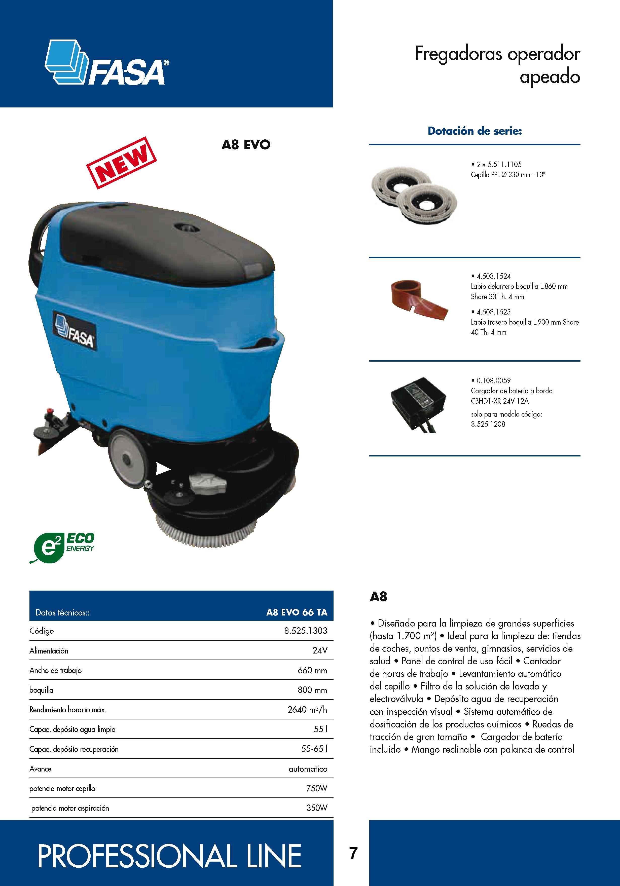 Catalogo características fregadora A8 Evo 66