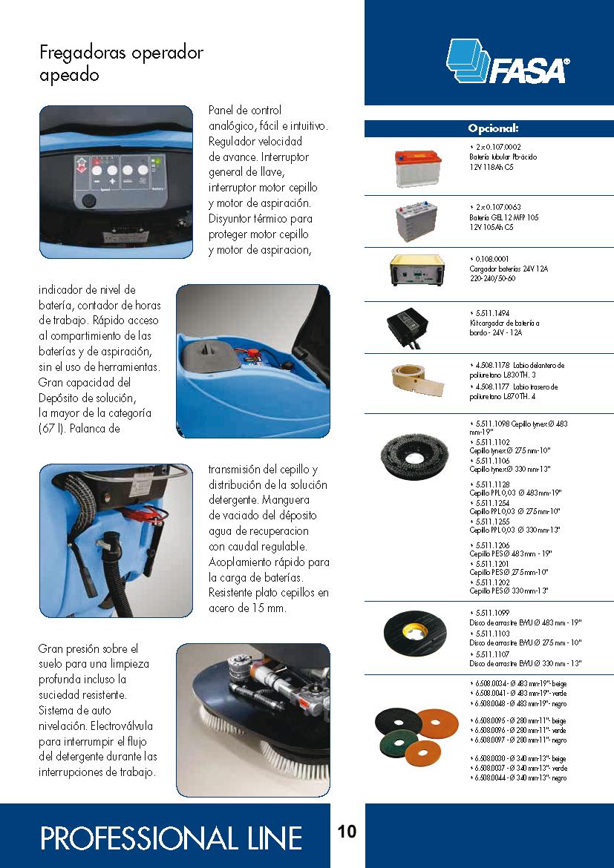 Catalogo características fregadora A9 50-55-66