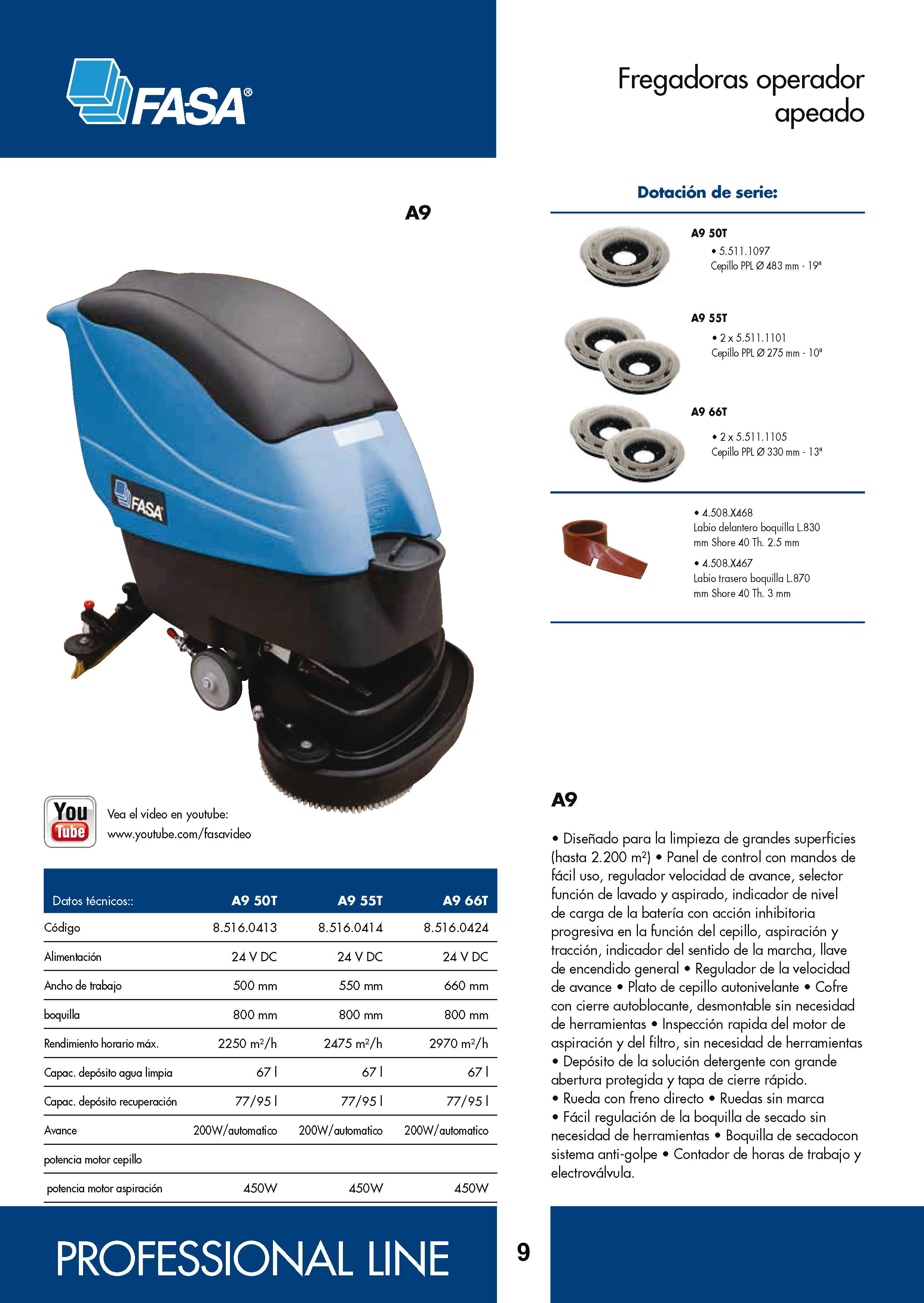 Catalogo características fregadora A9 50-50-66